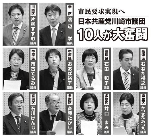 市民要求実現へ日本共産党川崎市議団10人が大奮闘